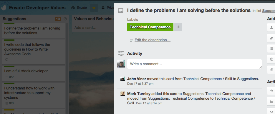 An Example Developer Expectations Trello Card